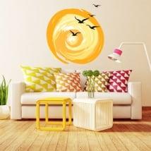 Vinyle décoratif oiseaux et coucher de soleil