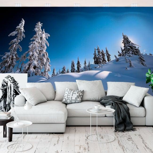 Murales de vinyle pins dans la neige