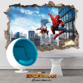 Autocollants muraux 3D spiderman homecoming
