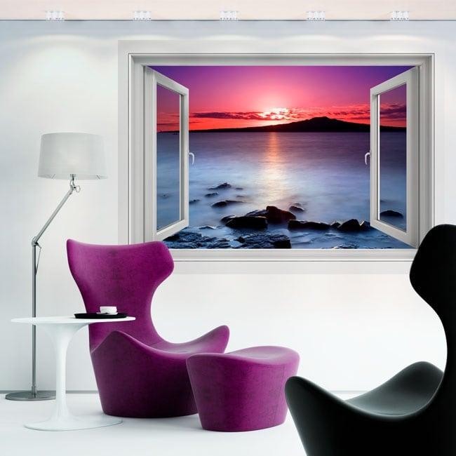 Vinyle décoratif couleurs du lever du soleil 3d