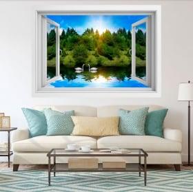 Vinyle décoratif cygnes sur le lac 3d