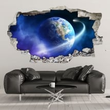 Vinyle les murs planète terre et comète 3d