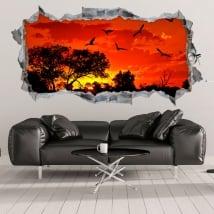 Autocollants et vinyls décoratifs coucher de soleil en afrique 3d