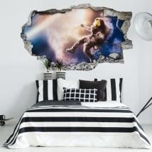 Vinyle les murs astronaute dans l'espace 3d