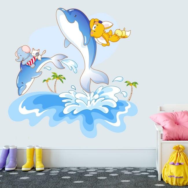 Autocollants en vinyle les dauphins le plaisir des enfants