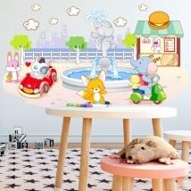 Vinyle et autocollants pour enfants animaux jouant