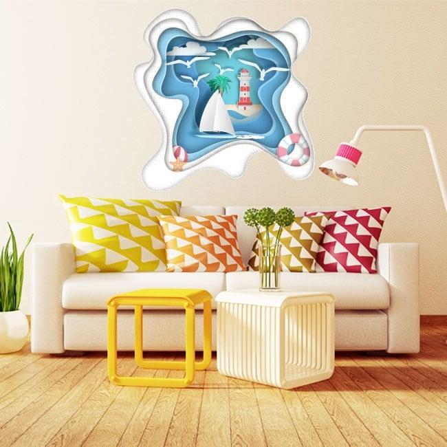 Vinyle décoratif voilier et phare origami papier 3d