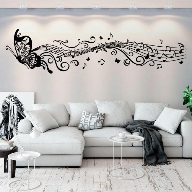 Vinyle décoratif papillons et pentagramme de musique