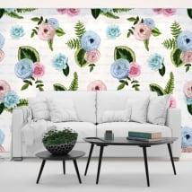Murales de vinyle fleurs avec des phrases
