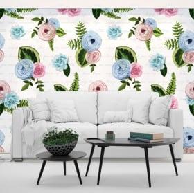 Murales de vinyles de fleurs à décorer