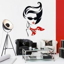 Vinyle décoratif silhouette de femme foulard