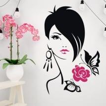 Vinyle et autocollants silhouette femme fleur avec des papillons