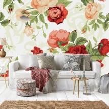 Murales de vinyle roses nature vintage