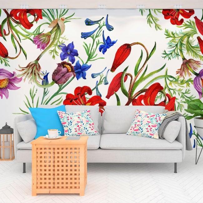 Murales de vinyle avec des fleurs