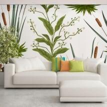 Murales de vinyles avec fleurs et quenouilles ou typha