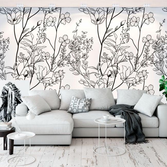 Murales de vinyle illustration de fleurs
