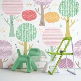 Murales de vinyle avec des fleurs colorées
