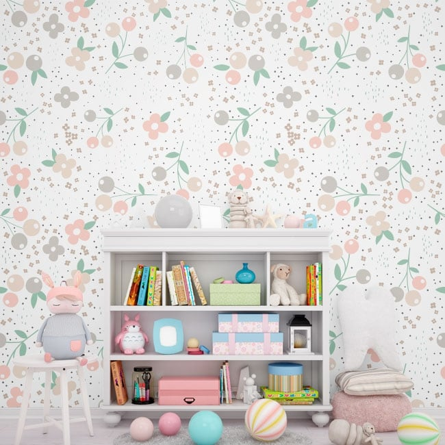 Murales de vinyle adhésif avec des fleurs
