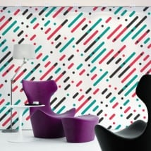Murales de vinyle lignes et cercles de couleurs