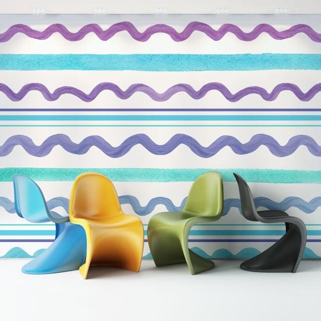 Murales de vinyle adhésif traits colorés