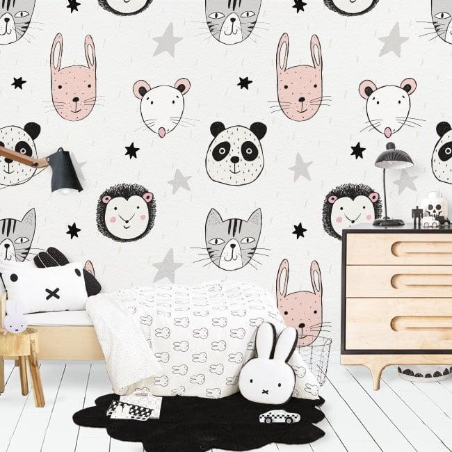 Murales de vinyle animaux et étoiles