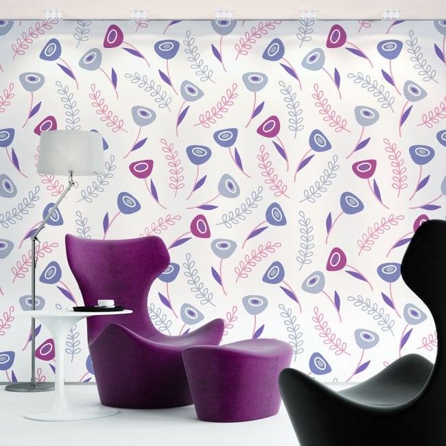 Murales de vinyle fleurs violettes