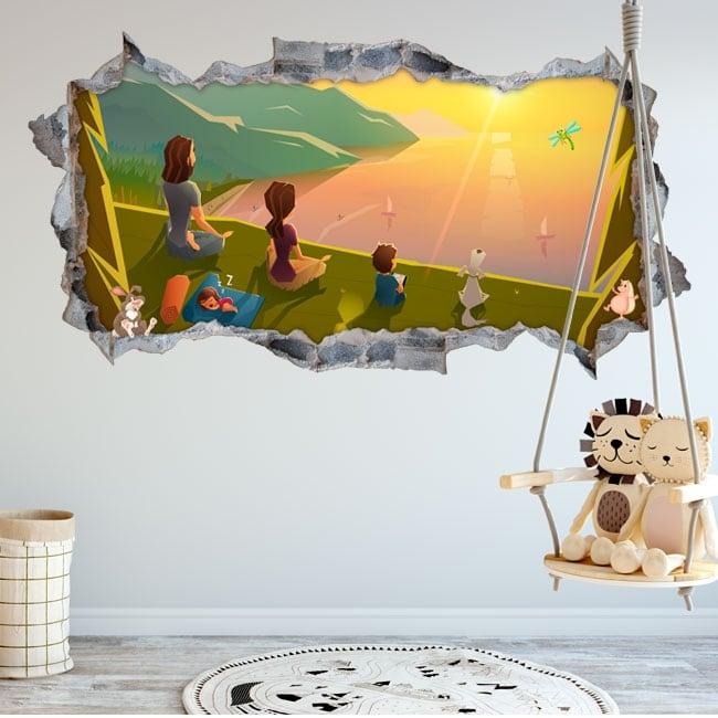 Vinyle chambres d'enfants famille dans le domaine 3d