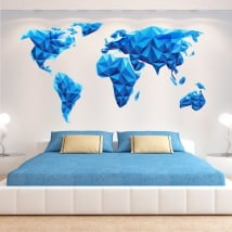 Vinyle et des autocollants carte du monde triangles bleus