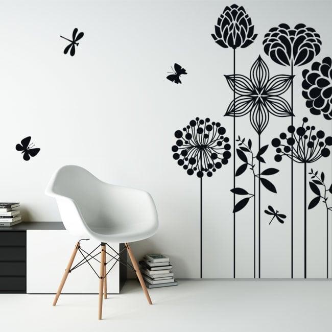 Vinyle décoratif fleurs papillons et libellules