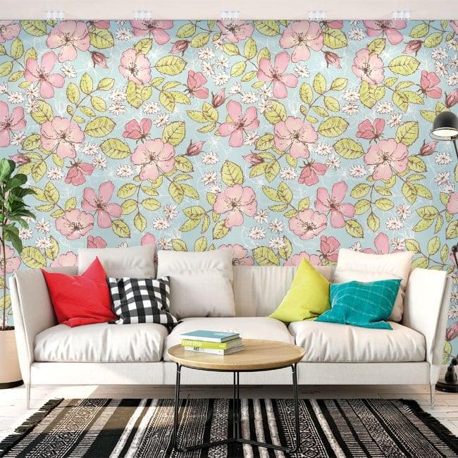 Murales adhésives avec des fleurs et des papillons