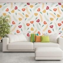 Murales de vinyle adhésif avec des fleurs rétro