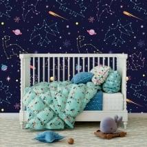 Stickers muraux en vinyle pour enfants constellation