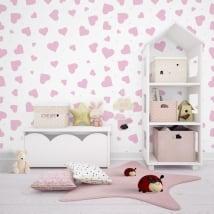Murales de vinyle adhésif avec des coeurs roses