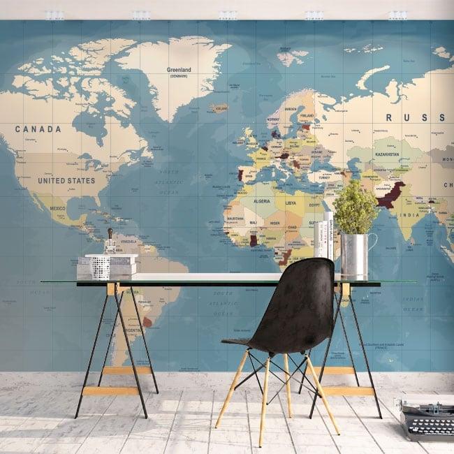 Murales de vinyle adhésif carte du monde
