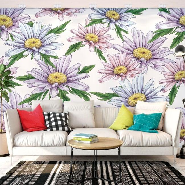 Murales de vinyle adhésif fleurs de camomille
