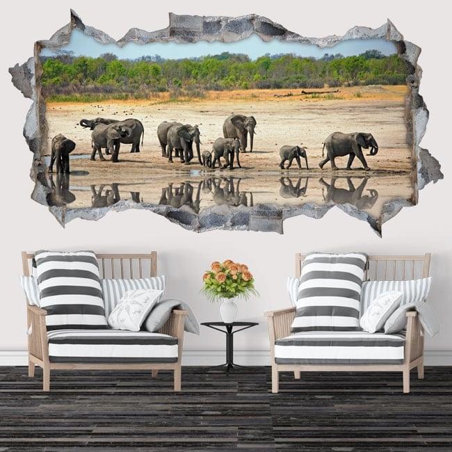 Vinyle décoratif et des autocollants éléphants 3d