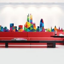 Vinyle et autocollants skyline de barcelone