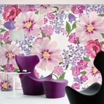 Murales de vinyle adhésif fleurs à décorer