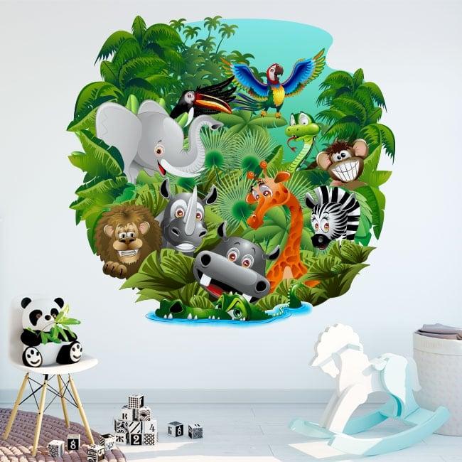 Vinyle décoratif et des autocollants pour enfants animaux dans la jungle