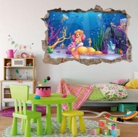 Vinyle 3d pour enfants princesse aurora la belle au bois dormant