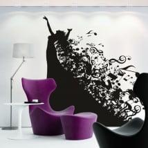 Vinyle décoratif silhouette de femme et notes de musique