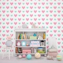 Murales de vinyle d'amour coeurs colorés