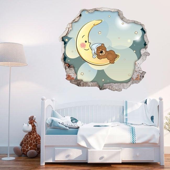 Vinyle décoratif pour enfants ours en peluche rêves 3d