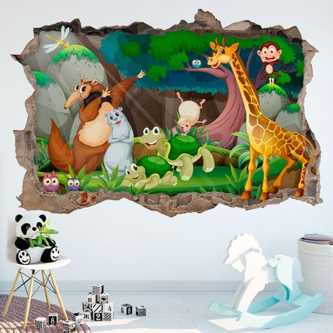 Vinyle décoratif pour enfants animaux heureux 3d