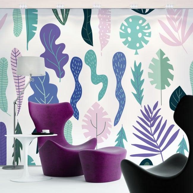 Murales de vinyle fleurs et feuilles nature