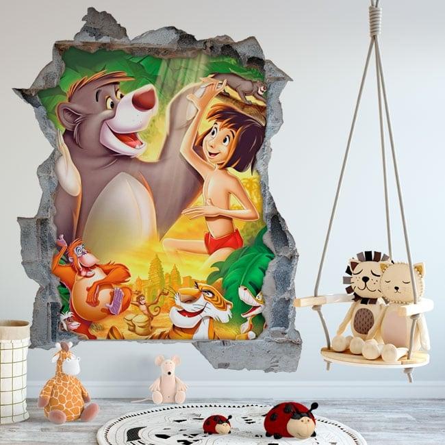 Vinyle les murs le livre de la jungle trou 3d