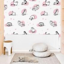 Papiers peints de vinyle les murs chats de yoga