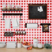 Photomuraux vinyles les murs cuisines carrés rouges vichy