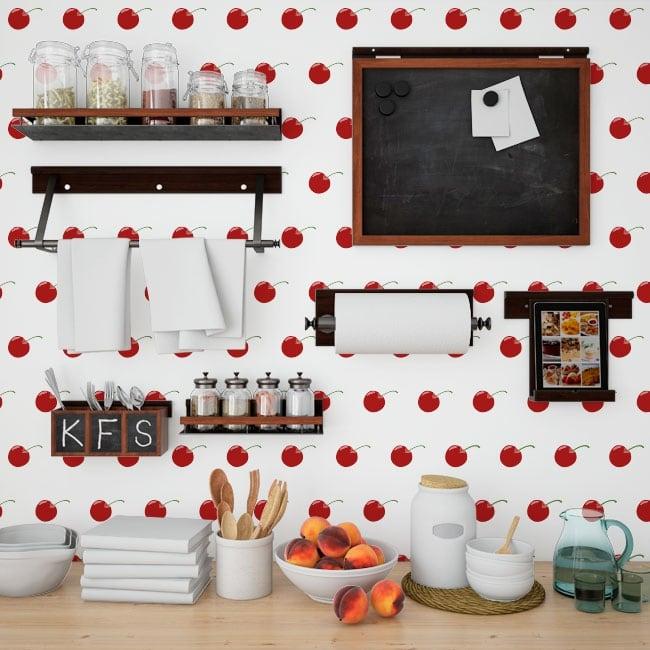 Photomuraux vinyles murs cerises cuisines