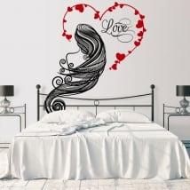 Vinyle les murs silhouette femme coeur amour